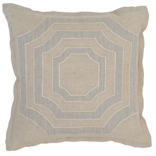 Kosas Home Buri Embroidered 18x18 Linen Natural Grey Down and Feather Filled Throw Pillow