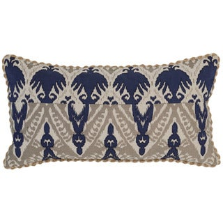 Kosas Home Pasay Embroidered 14x26 Cotton Linen Blue Taupe Down and Feather Filled Throw Pillow
