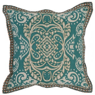 Kosas Home Lucena Embroidered 18x18 Cotton Linen Green Down and Feather Filled Throw Pillow