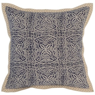 Kosas Home Cainta Screen Printed 18x18 Linen Blue Down and Feather Filled Throw Pillow
