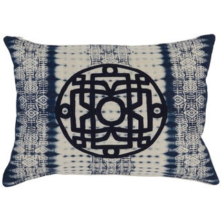Kosas Home Panga Embroidered 14x20 Linen Blue Down and Feather Filled Throw Pillow