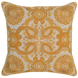 Kosas Home Albay Embroidered 18x18 Cotton Linen Yellow Down and Feather Filled Throw Pillow