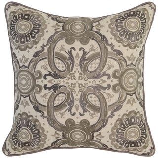 Kosas Home Albay Embroidered 18x18 Cotton Linen Taupe Down and Feather Filled Throw Pillow