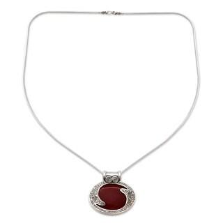 Carnelian Pendant Necklace, 'Royal Amulet' (India)