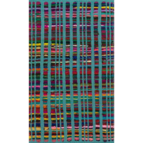 """Flatweave Rory Turquoise Multi Cotton Rug - 1'8"""" x 3'"""