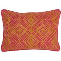 Kosas Home Kota Embroidered 14x20 Cotton Fuchsia Mango Down and Feather Filled Throw Pillow