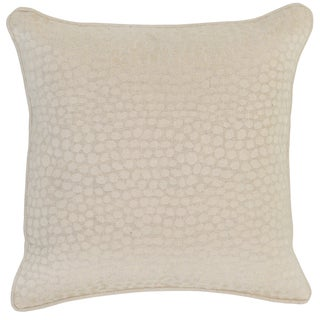 Kosas Home Kret Embroidered 18x18 Linen Natural Down and Feather Filled Throw Pillow