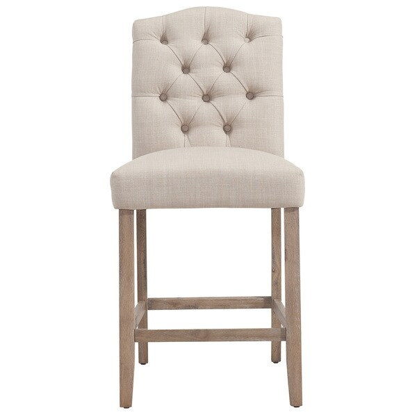 Lucian Off White Fabric Oak 26 Inch Tufted Back Counter