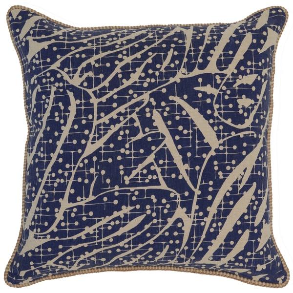 Kosas Home Capas 22x22 Cotton Linen Blue Down and Feather Filled Throw Pillow