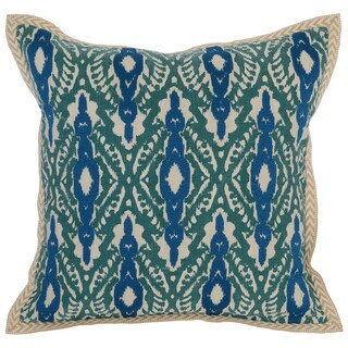Kosas Home Silay Embroidered 18x18 Cotton Linen Green Down and Feather Filled Throw Pillow