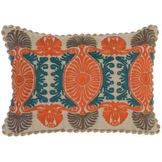 Kosas Home Thane Embroidered 14x20 Cotton Linen Orange Down and Feather Filled Throw Pillow