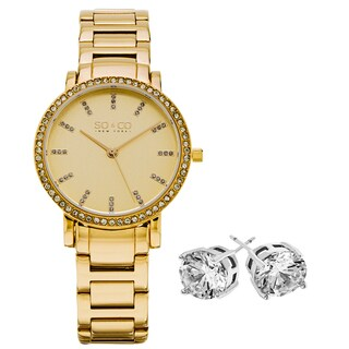 SO&CO New York Women's Gold-tone with Crystal Stud Earrings Mothers Day Gift Watch Set
