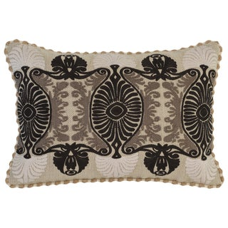 Kosas Home Thane Embroidered 14x20 Cotton Linen Taupe Black Down and Feather Filled Throw Pillow