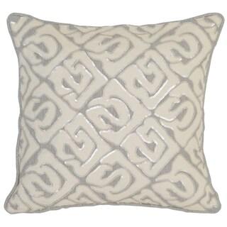 Kosas Home Korba 18x18 Linen Cotton Grey Ivory Down and Feather Filled Throw Pillow