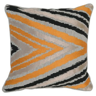Kosas Home Purnia Embroidered 18x18 Linen Cotton Orange Black Down and Feather Filled Throw Pillow