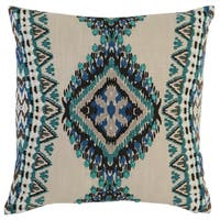 Kosas Home Lapu Embroidered 18x18 Cotton Green Down and Feather Filled Throw Pillow