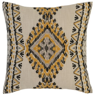 Kosas Home Lapu Embroidered 18x18 Cotton Yellow Down and Feather Filled Throw Pillow