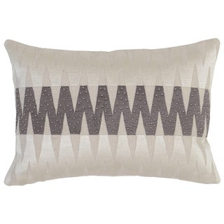 Kosas Home Akola Embroidered 14x20 Linen Cotton Taupe Grey Down and Feather Filled Throw Pillow