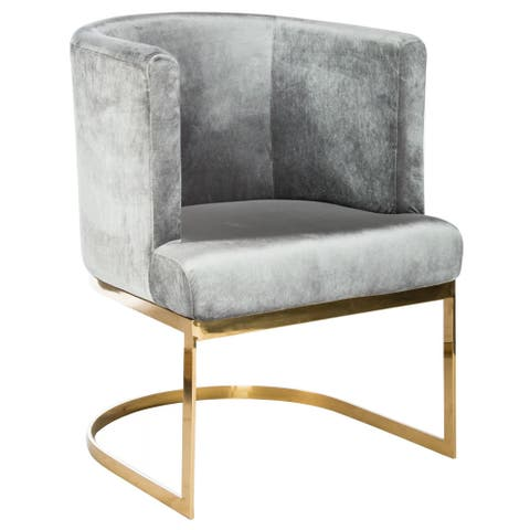 Statements By J Hazel Gold Chrome Chair, 33.5 Inch Tall