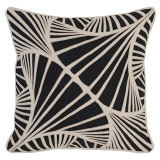 Kosas Home Patiala Embroidered 18x18 Linen Cotton Black Down and Feather Filled Throw Pillow