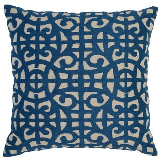 Kosas Home Prue Embroidered 22x22 Cotton Blue Down and Feather Filled Throw Pillow