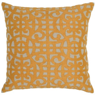 Kosas Home Prue Embroidered 22x22 Cotton Mango Down and Feather Filled Throw Pillow
