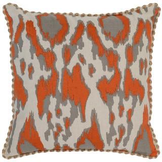 Kosas Home Satun Embroidered 22x22 Cotton Linen Orange Down and Feather Filled Throw Pillow