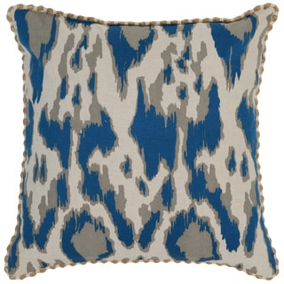 Kosas Home Satun Embroidered 22x22 Cotton Linen Blue Down and Feather Filled Throw Pillow