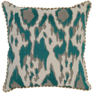 Kosas Home Satun Embroidered 22x22 Cotton Linen Teal Down and Feather Filled Throw Pillow
