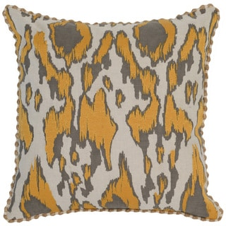 Kosas Home Satun Embroidered 22x22 Cotton Linen Yellow Down and Feather Filled Throw Pillow