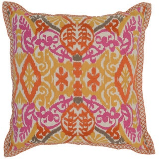 Kosas Home Yasa Ikat 22x22 Cotton Linen Yellow Orange Pink Down and Feather Filled Throw Pillow