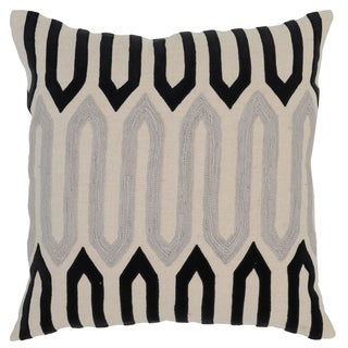 Kosas Home Pathom Embroidered 22x22 Linen Natural Black Down and Feather Filled Throw Pillow