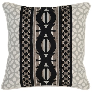 Kosas Home Dewas Embroidered 18x18 Cotton Linen Taupe Black Down and Feather Filled Throw Pillow