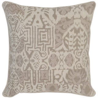 Kosas Home Davao Embroidered 22x22 Linen Ivory Taupe Down and Feather Filled Throw Pillow