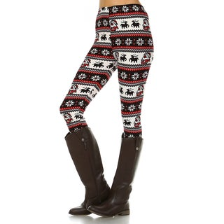 Women's Red and Black Polyester and Spandex One Size Printed Leggings