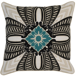 Kosas Home Lipa Embroidered 22x22 Cotton Linen Ivory Black Down and Feather Filled Throw Pillow