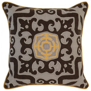 Kosas Home Surat Embroidered 22x22 Cotton Brown Yellow Down and Feather Filled Throw Pillow