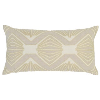 Kosas Home Loni Embroidered 14x26 Linen Ivory Down and Feather Filled Throw Pillow