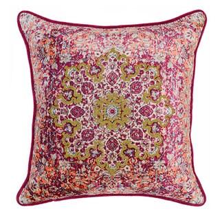 Kosas Home Loei Embroidered 22x22 Cotton Velvet Fuchsia Down and Feather Filled Throw Pillow