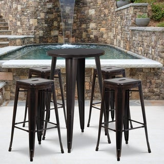 24-inch Round Black-Antique Gold Metal Indoor-Outdoor Bar Table Set with 4 Square Seat Backless Barstools
