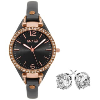 SO&CO New York Women's Crystal Grey Brass/ Leather with Crystal Stud Earings Mothers Day Gift Watch Set|https://ak1.ostkcdn.com/images/products/13578163/P20253182.jpg?impolicy=medium