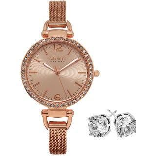 SO&CO New York Women's Rose-tone with Crystal Stud Earings Mothers Day Gift Watch Set