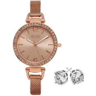 SO&CO New York Women's Rose-tone with Crystal Stud Earings Mothers Day Gift Watch Set|https://ak1.ostkcdn.com/images/products/13578339/P20253889.jpg?impolicy=medium