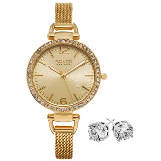SO&CO New York Women's Gold-tone Brass Watch With Clear Crystal Stud Earings
