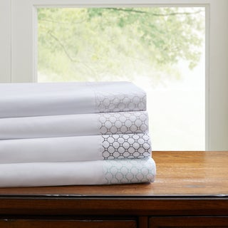 Madison Park Essentials Geometric Microcell Embroidered Sheet Set