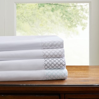 Madison Park Essentials Geometric Microcell Embroidered Sheet Set 4-Color Option