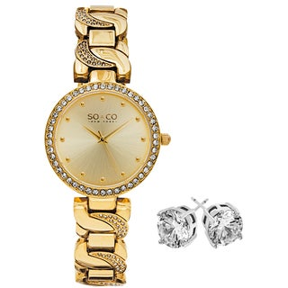 SO&CO New York Women's Crystal Gold-tone Stainless Steel Watch With Crystal Stud Earings