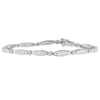 14K White Gold 1.30ct TDW Round and Baguette Cut Diamond Circle Link Bracelet (H-I, SI2-I1)