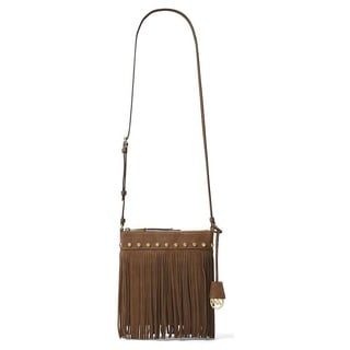Michael Kors Suede Billy Fringe Small Dark Caramel Crossbody Handbag