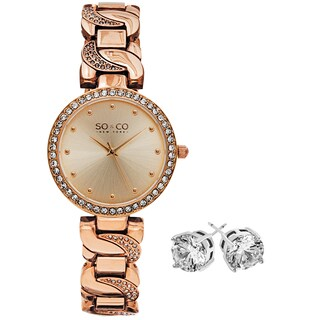 So&Co New York Gift With Purchase Women's Rosetone Watch With Crystal Stud Earings